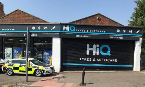Hi Q Tyres Autocare Rushden Exterior signage and Police fleet vehicle