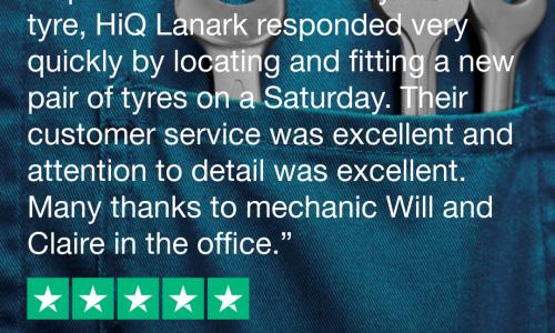 HiQ Tyres & Autocare Lanark Trustpilot Review