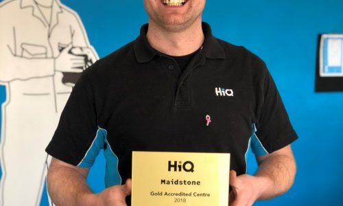 HiQ Maidstone centre manager Luke Crofts with Gold Standard Award 2018