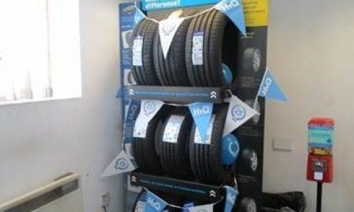 HiQ Warmley tyre display.
