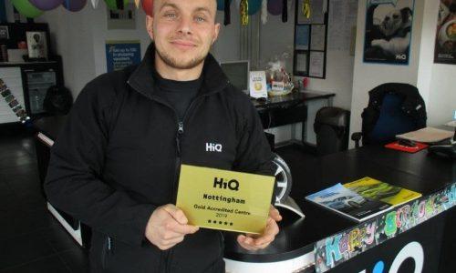Matt at HiQ Nottingham receiving their Gold Standard Award 2019