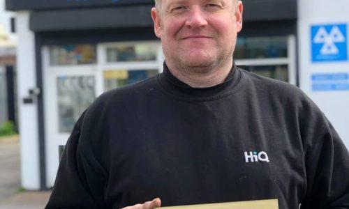 John at HiQ Erdington receiving their Gold Standard Award 2019