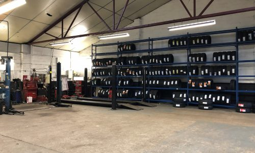 HiQ Evesham workshop and tyres in stock