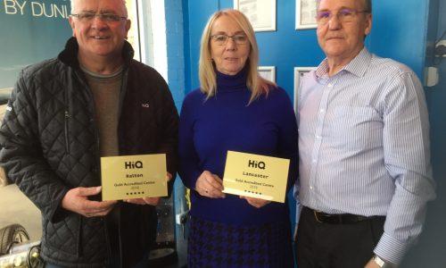 Steve and Meg Marshall HiQ Halton receiving their Gold Standard Award 2018