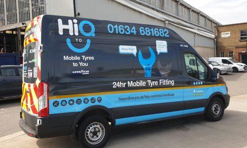 Hi Q2 U Mobile van with new Hi Q livery left panel