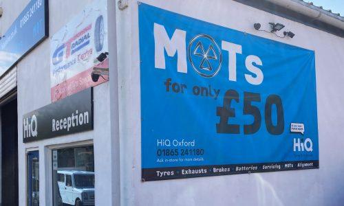 Hi Q Oxford MOT Sign