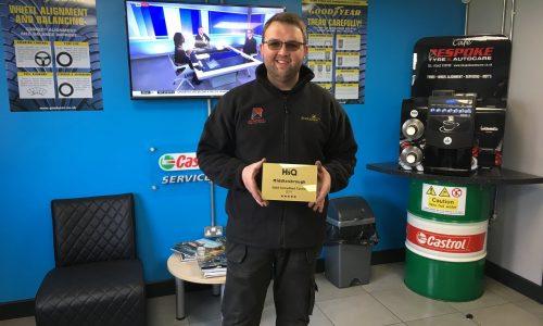 Dave at HiQ Middlesbrough receiving their Gold Standard Award 2019