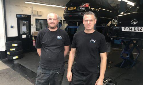 Scott and Martin working hard at HiQ Tyres Autocare Goffs Oak