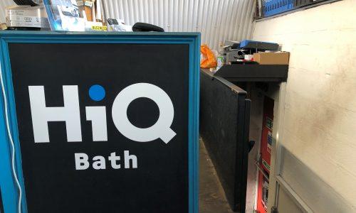 HiQ Tyres & Autocare Bath reception sign