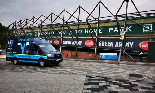 HiQ Tyres & Autocare vehicle at the sports stadium