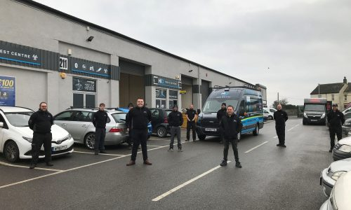 HiQ Tyres & Autocare Plymouth team socially distanced