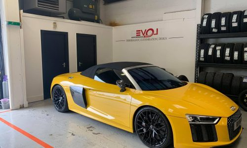 Hi Q Tyres Autocare Walsall Audi R8 in yellow