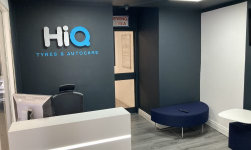 Hi Q Tyres Autocare Walsall Reception Area and Hi Q sign