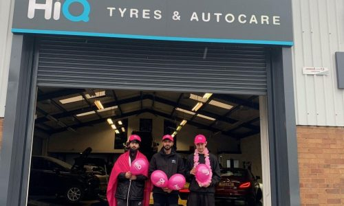 Hi Q Tyres Autocare Walsall team photo wear it pink