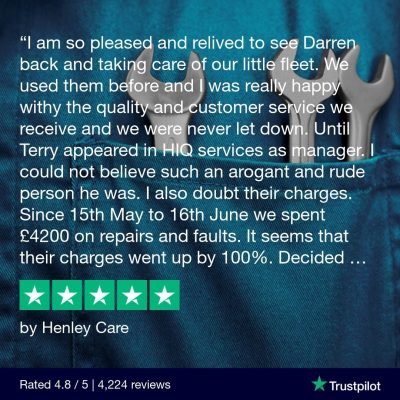 5 star review on trustpilot for Hi Q Castrol Henley