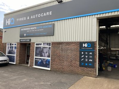 Hi Q Tyres Autocare Haywards Heath entrance new signage
