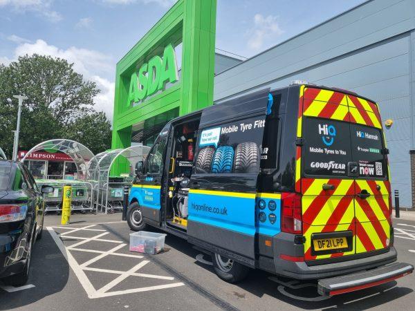 Hi Q Tyres Autocare Coventry Mobile Vans photoshoot Asda