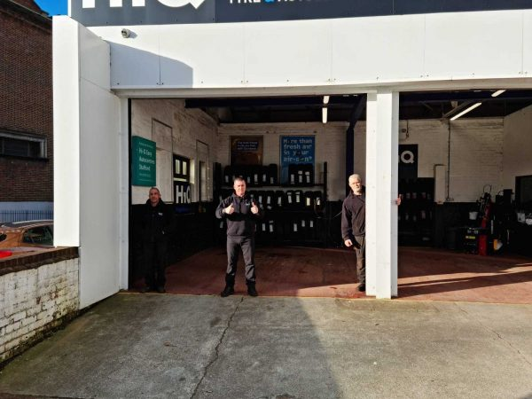Hi Q Tyres Autocare Stafford exterior signage and staff