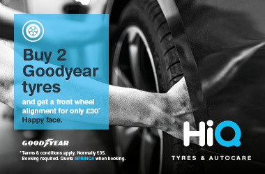 Buy 2 Goodyear tyres and get a front wheel alignment for just £30.