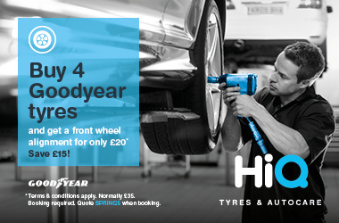 Buy 4 Goodyear tyres & get a front wheel alignment for £20.