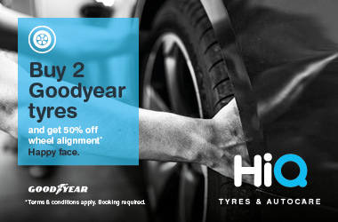 Buy two Goodyear Tyres & get 50% off Wheel Alignment