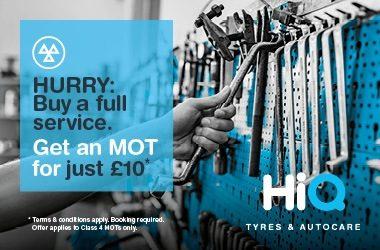 Buy a full service & get an MOT for £10.