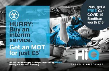 Buy an interim service. Get an MOT just £5*